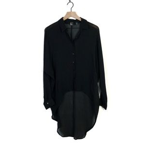 The Eileen Fisher Project Silk Black Hi Low Blouse